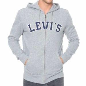 New Levi's Gray Applique Logo Zip Up Hoodie Jacket